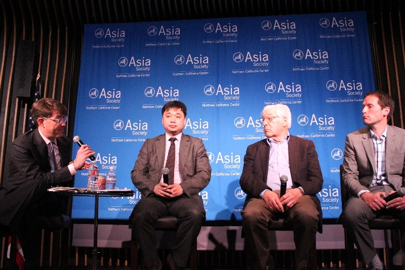 "The second panel focused on ""Green Investment, Technology Innovation and Market Opportunity."" Jeffrey Ball, Scholar in Residence Stanford University (far left) moderated the panel discussion. (Asia Society)"