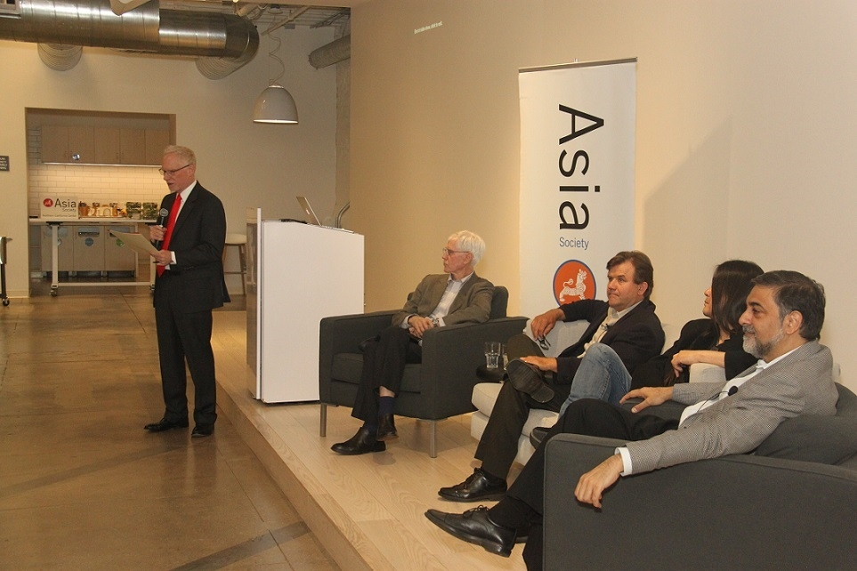 "N. Bruce Pickering (far left) opens ""Innovation and Progress: New Ideas for a New World"" on May 4, 2016 at Zendesk in San Francisco. Orville Schell moderated the panel with Annual Dinner honorees Eric Heitz and Kaiser Kuo, and Vivek Wadwha. (Asia Society)"