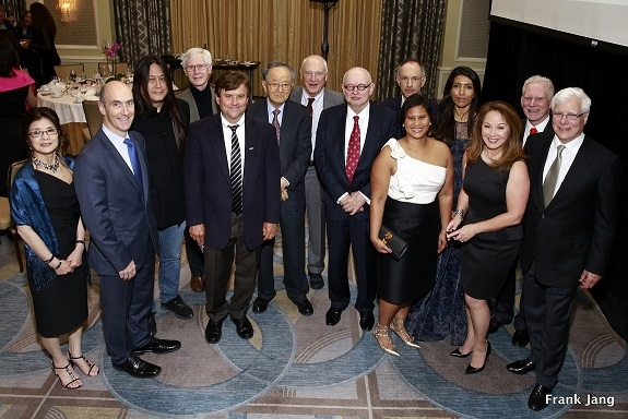 Annual Dinner Honorees, colleagues and ASNC Advisory Board Members with staff. From left to right: Wendy Soone-Broder, Tom Steinbach, Kaiser Kuo, Orville Schell, Eric Heitz, Chong-Moon Lee, Jack Wadsworth, Ken Wilcox, Michael Moritz, Olana Khan, Leila Janah, Sydnie Kohara, N. Bruce Pickering, and Barry Taylor. (Frank Jang Asia Society)