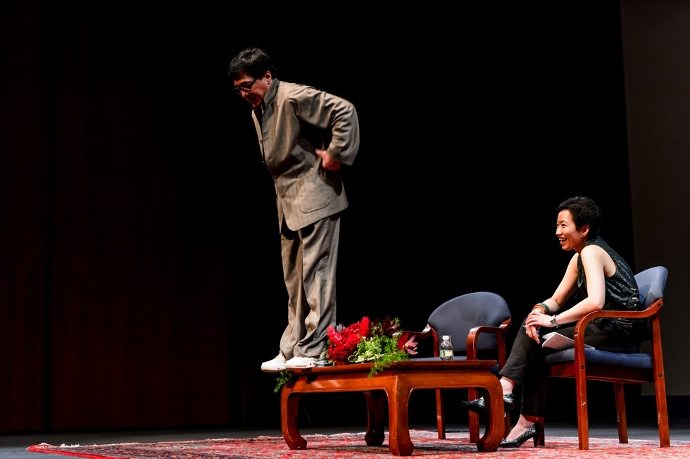 In a rollicking 2013 discussion at Asia Society in New York, an animated Jackie Chan spent almost as much time out of his seat as in it. (C. Bay Milin)