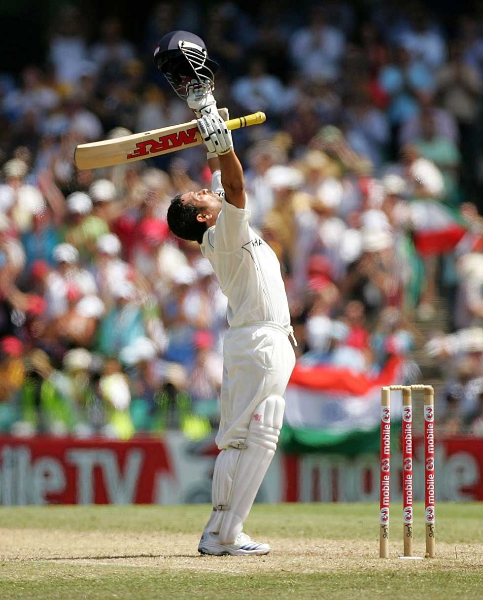 Tendulkar celebrates reaching his century during day three of the Second Test match between Australia and India at the Sydney Cricket Ground on January 4, 2008 in Sydney, Australia.  (Ezra Shaw/Getty Images)