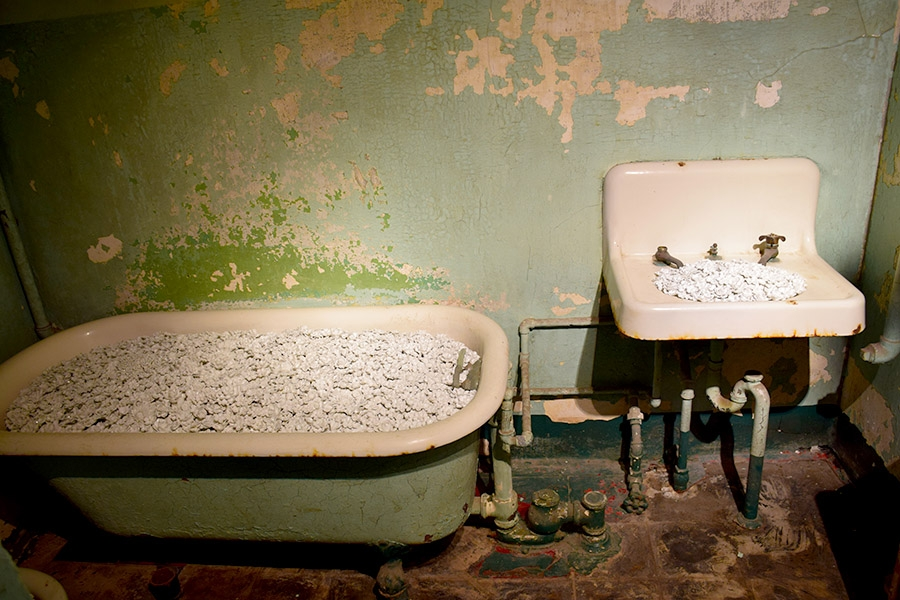 View of one of the rooms in the Alcatraz Hospital featuring detailed encrustations of ceramic flowers to fill the sinks, toilets, and tubs that were once used by hospitalized prisoners.