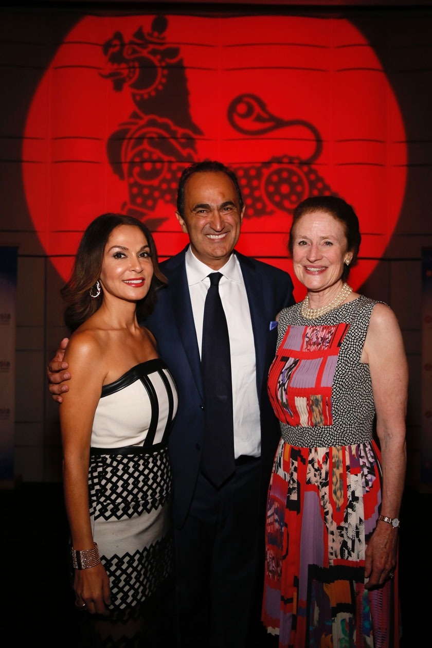 From left, Educational and Philanthropic Visionary's David Nazarian and Angella Nazarian pose with Henrietta H. Fore, Global Co-Chair, Asia Society during the Asia Society Southern California 2017 Annual Gala at the Skirball Cultural Center on May 7, 2017, in Los Angeles, California. (Photo by Ryan Miller/Capture Imaging)