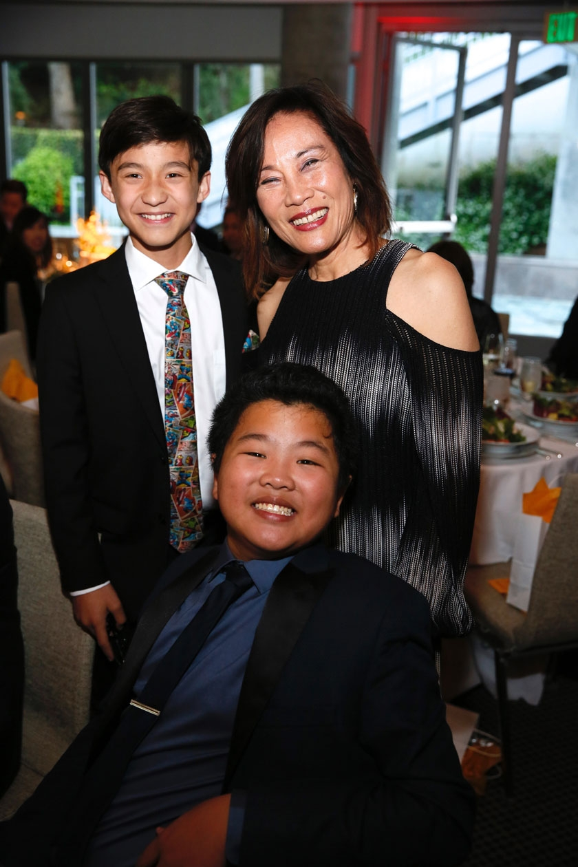 From left, actors Forrest Wheeler, Hudson Yang and Janet Yang pose during the Asia Society Southern California 2017 Annual Gala at the Skirball Cultural Center on May 7, 2017, in Los Angeles, California. (Photo by Ryan Miller/Capture Imaging)