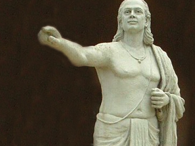 Modern statue of Aryabhata, astronomer and mathematician in ancient India. Photo: Mukerjee.