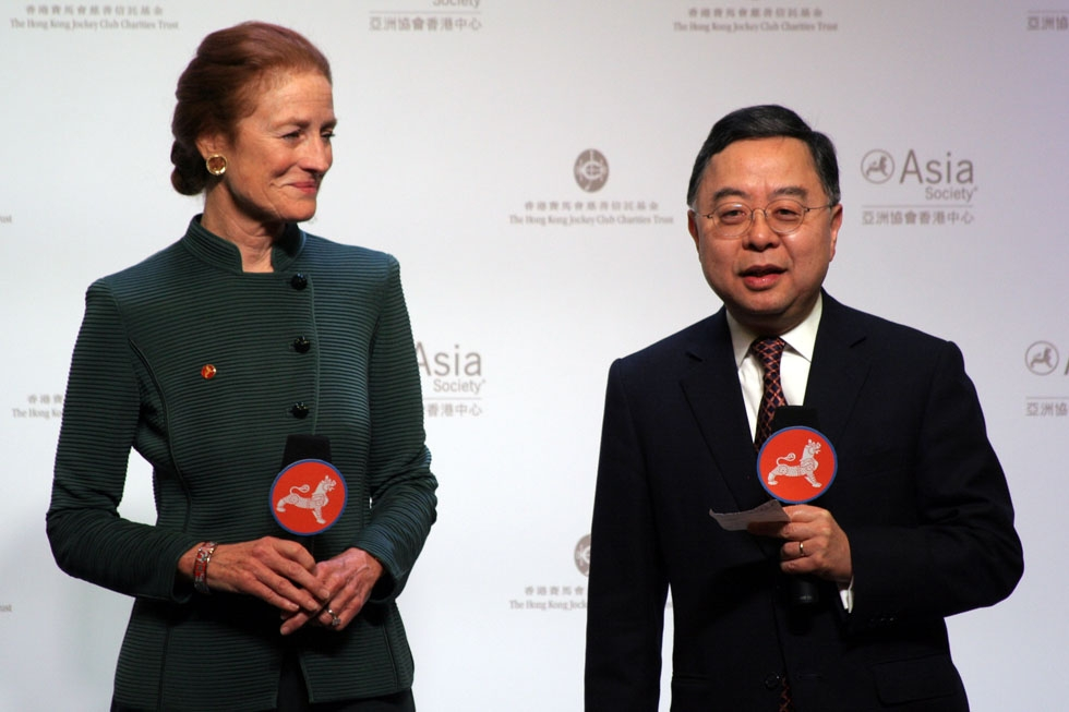 Global Co-Chairs Henrietta Fore and Ronnie Chan welcome attendees to the Hong Kong Center opening ceremony. (Bill Swersey/Asia Society)