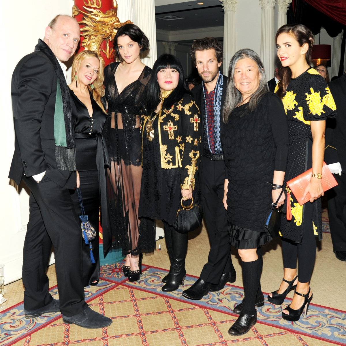 L to R: Dirk Standen, Susan Standen, Jessica Stam, Anna Sui, Aaron Young, Yeohlee Teng and Laure Heriard Dubreuil. (Billy Farrell)