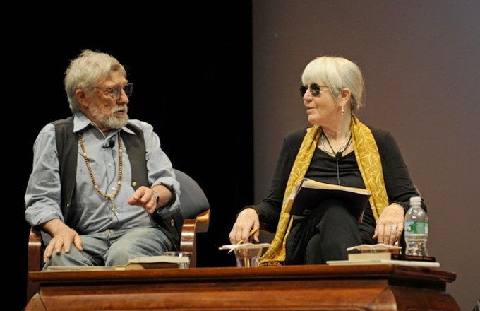 Poets Gary Snyder and Joanne Kyger onstage at the Asia Society on June 14, 2008. (Julienne Schaer/Asia Society)