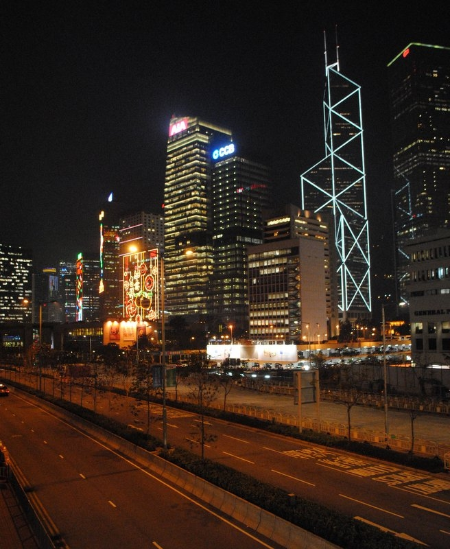 Hong Kong's Central district at night.