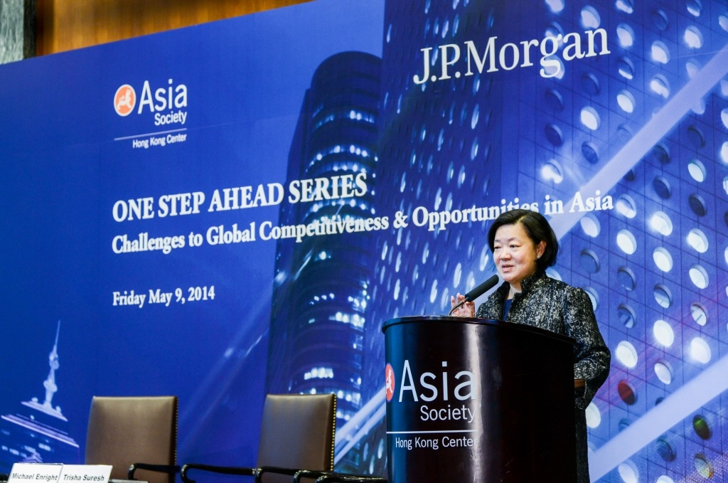 S. Alice Mong, Executive Director of ASHK, delivered welcoming remarks at the symposium on May 9, 2014. (Asia Society Hong Kong Center)