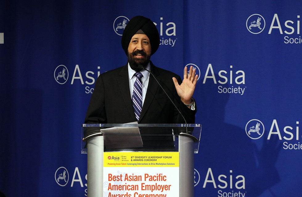MasterCard Senior Vice President of Community Relations Ravi Aurora speaks at Asia Society's Best Asian Pacific American Employer Awards Ceremony. (Ellen Wallop/Asia Society)
