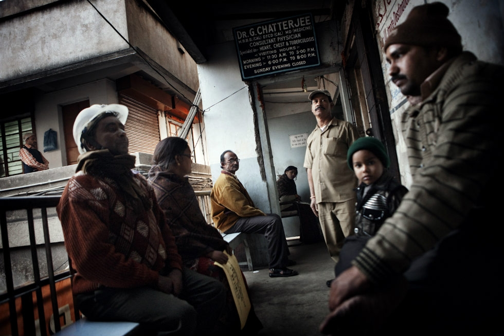 Patients line up to see one of the few doctors who specializes in respiratory diseases  in the Dhanbad.