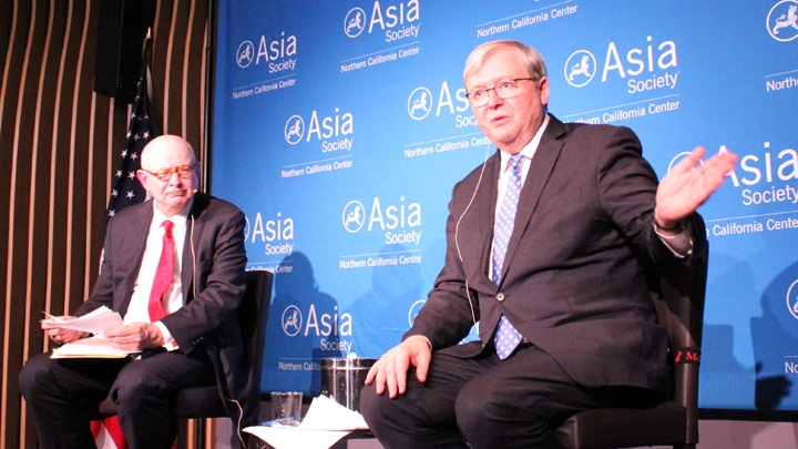 The Honorable Kevin Rudd answers a question from the audience. (Asia Society)