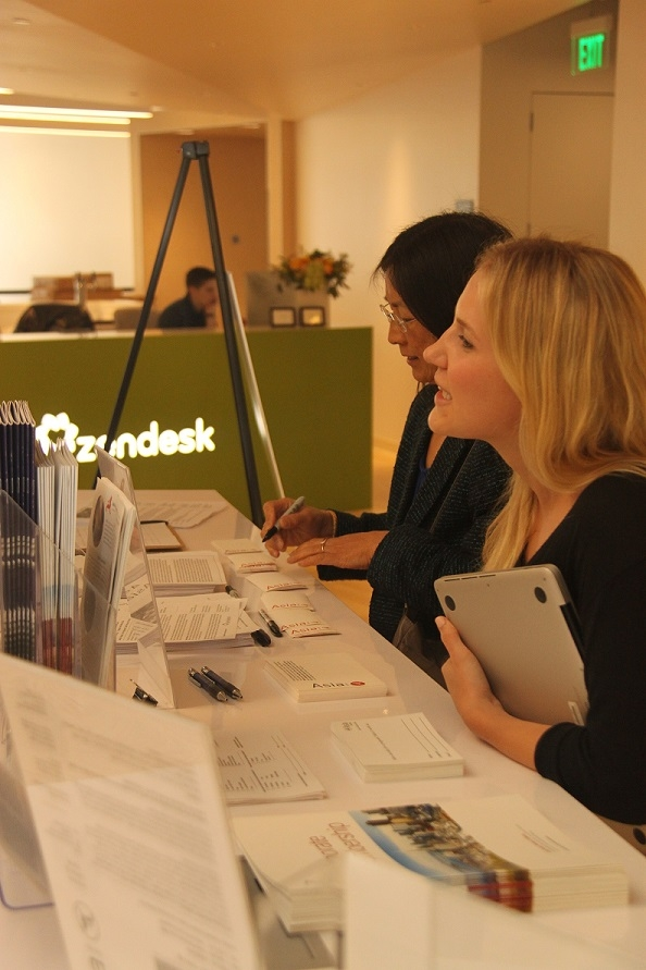 Attendees arrive at Zendesk; this was ASNC's first time to partner with the company. (Asia Society)