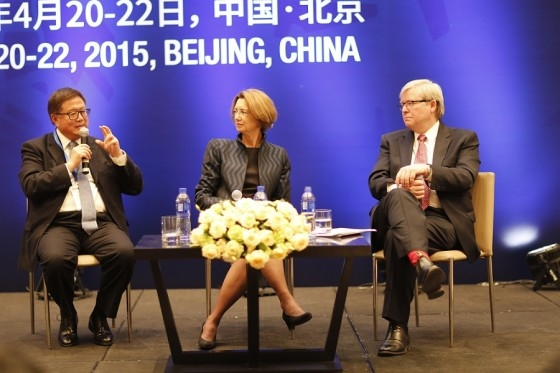 Asia Society Pacific Cities Sustainability Forum was held in Beijing this past April and featured leading sustainability experts from across Asia. Pictured here is Henry Cheng of Chongbang, Lynn Thurber of ULI, and The Honorable Kevin Rudd. (Asia Society)