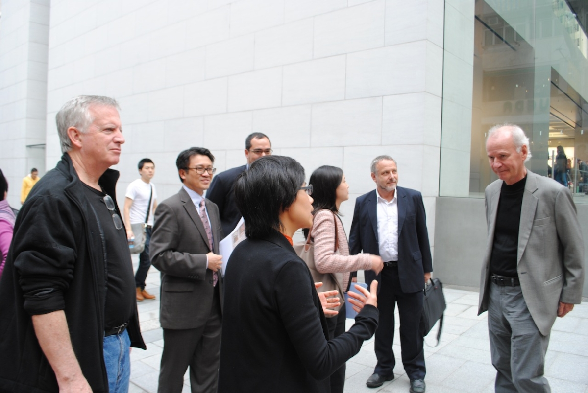 Florence Chan (center), Senior Associate Principal at KPF, leads a tour of the LEED platinum building. (Credit: Asia Society)