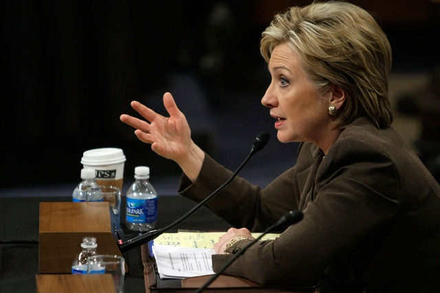 US Secretary of State nominee Hillary Clinton testifies during her confirmation hearing before the Senate Foreign Relations Committee on Jan. 13, 2009 in Washington, DC. (Alex Wong/Getty Images)