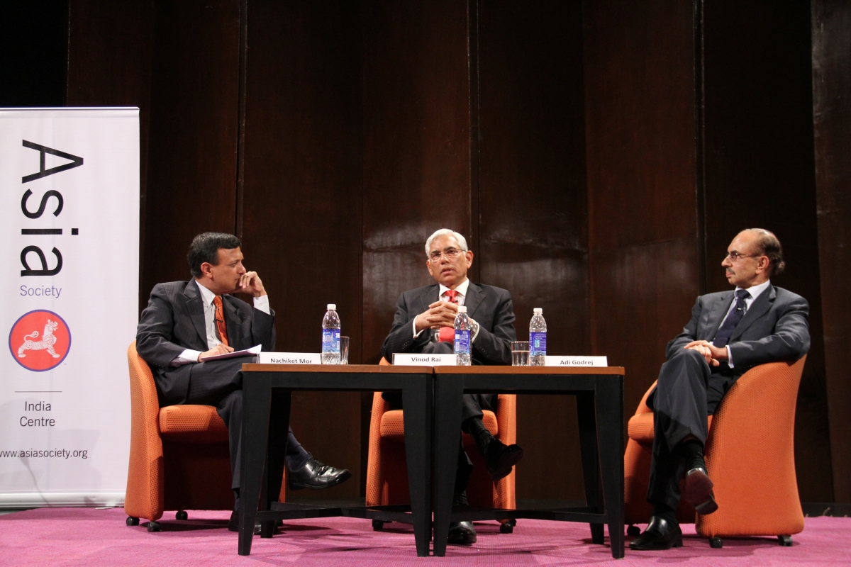 Highlights of the discussion with Nachiket Mor, Vinod Rai and Adi Godrej in Mumbai on July 12, 2012. (8 min., 51 sec.)