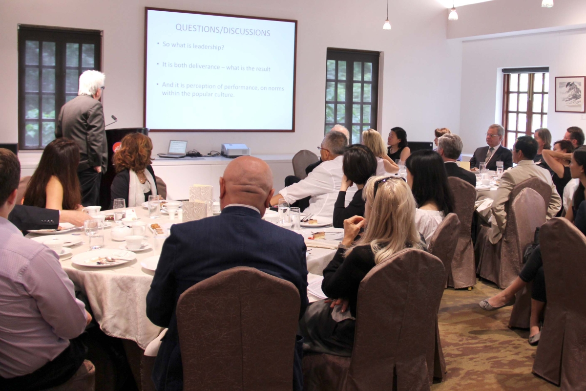 U.S. journalist and scholar Tom Plate led a luncheon discussion on leadership at Asia Society Hong Kong Center. (Asia Society Hong Kong Center)