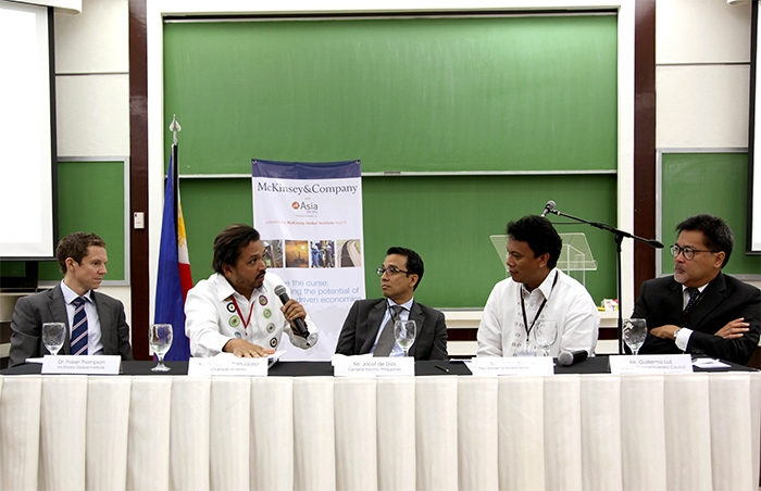 Speakers during the Open Forum discuss mining challenges in the Philippine context