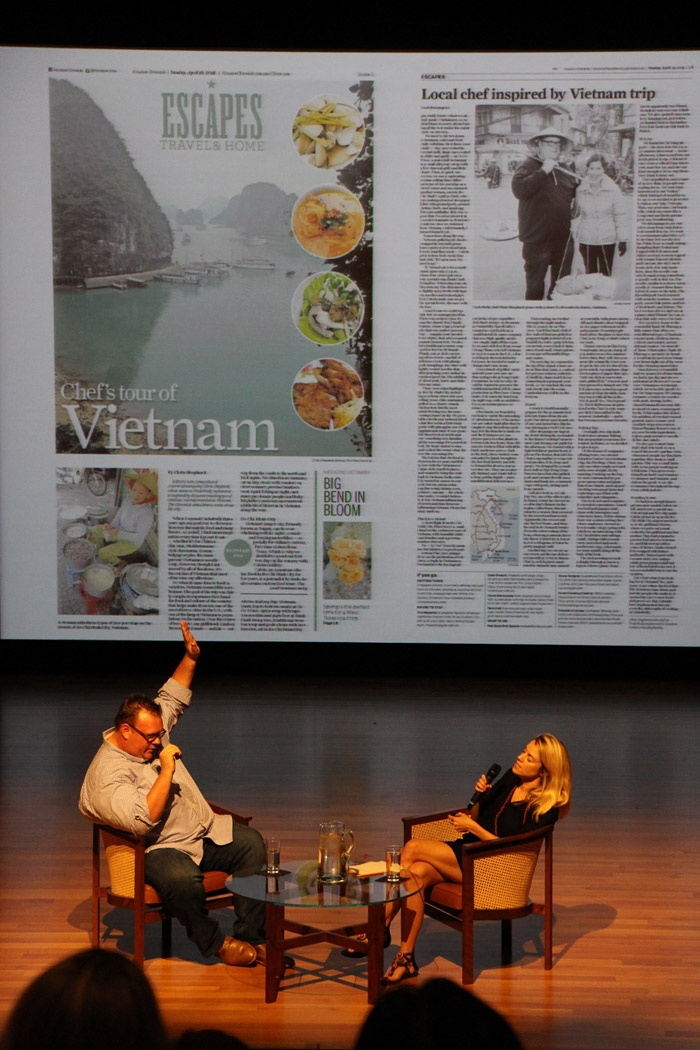 August 19 - Underbelly's Chris Shepherd visited with Houston Chronicle travel editor Jody Schmal to discuss  about his recent culinary journey through Vietnam. (Tiffany Chen)