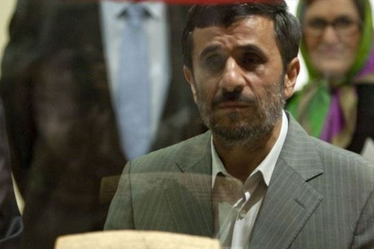 Iranian President Mahmoud Ahmadinejad attends the unveiling of the Cyrus Cyliner in Tehran in 2010. (Radio Free Europe/Radio Liberty)