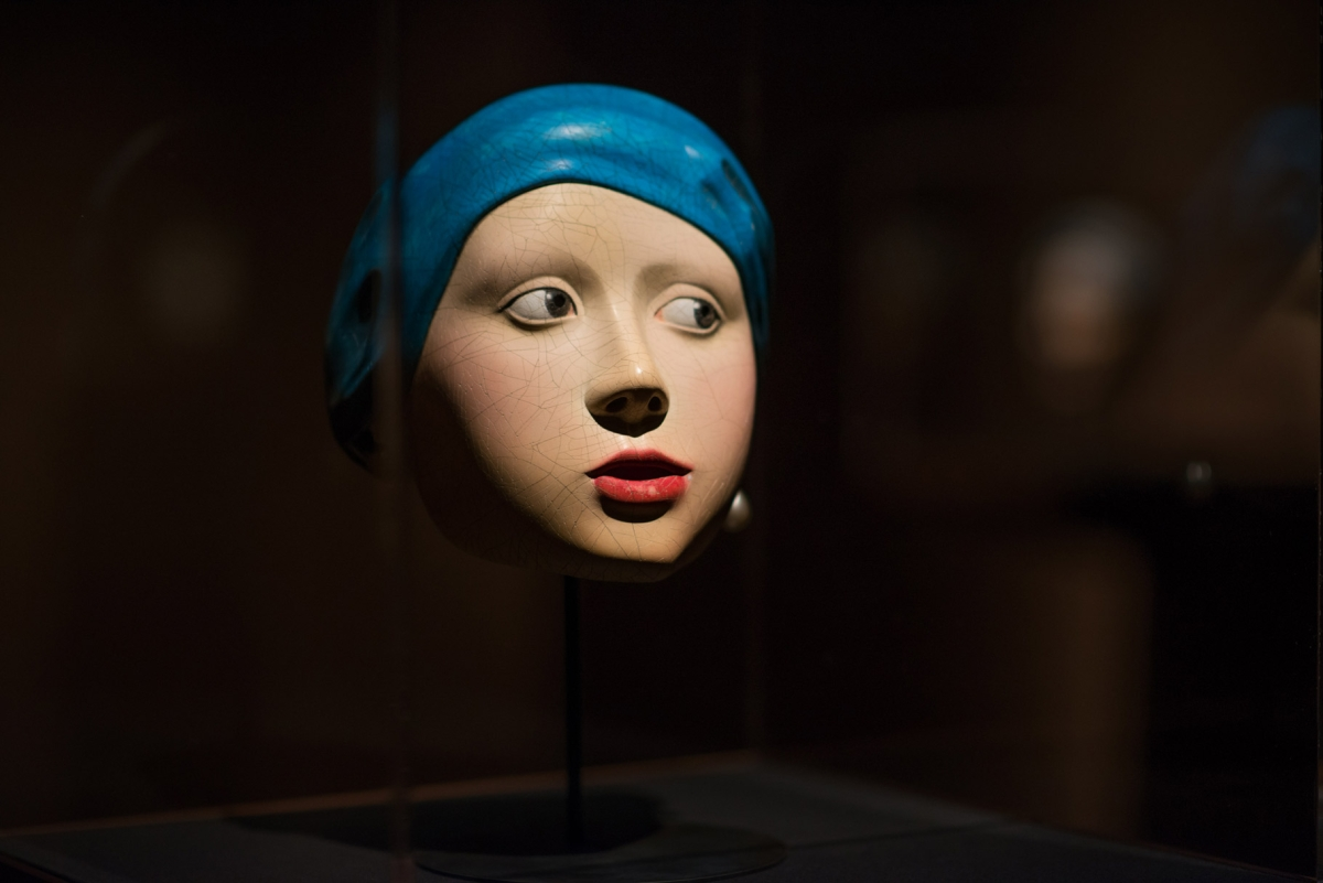 "Bidou Yamaguchi's noh mask version of ""Girl with a Pearl Earring"" from the 'Traditions Transfigured' exhibition (Jeff Fantich)"