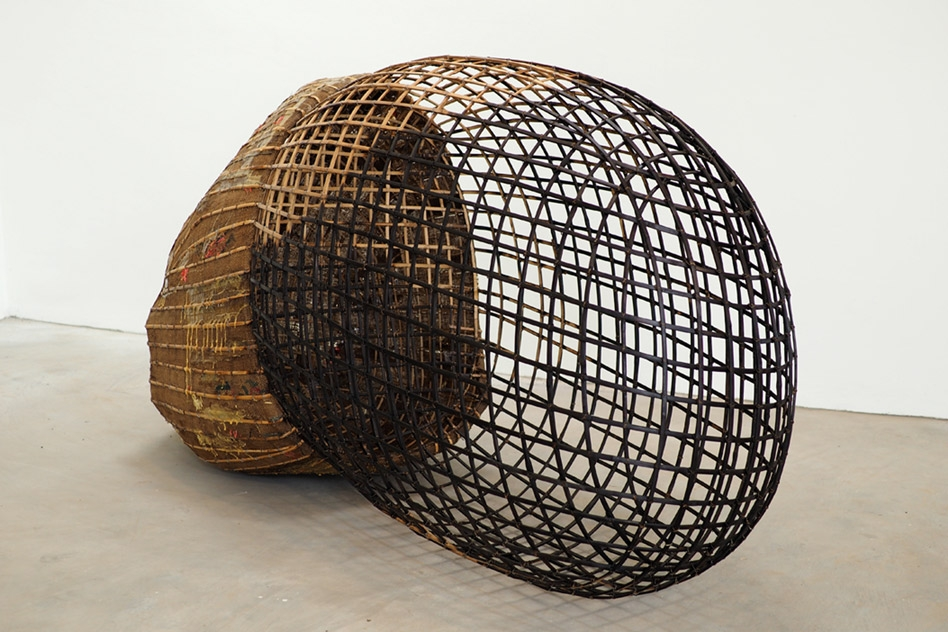 "Sopheap Pich, ""Large Seed, 2015,"" Bamboo, rattan, metal wire, burlap, plastics, and synthetic resin, Courtesy of Tyler Rollins Fine Art"