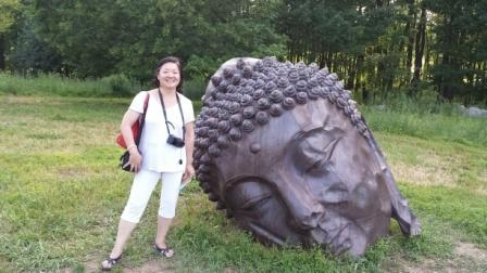 Meeting another Long Island Buddha at Storm King Art Center (Photo by S. Alice Mong)