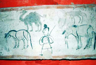 Old tomb painting showing a merchant with horses and camels along the Silk Roads. Luotoucheng, Gansu Province, China; circa 221-317 C.E. Courtesy Gaotai County Museum.