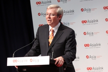 The Honorable Kevin Rudd MP, Prime Minister of Australia, delivers the Forum keynote speech in Canberra on May 25, 2010.
