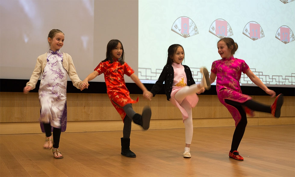 Glenwood Elementary School contestants performing in a speech competition with Confucius Institute at NC State. (North Carolina Public Schools)