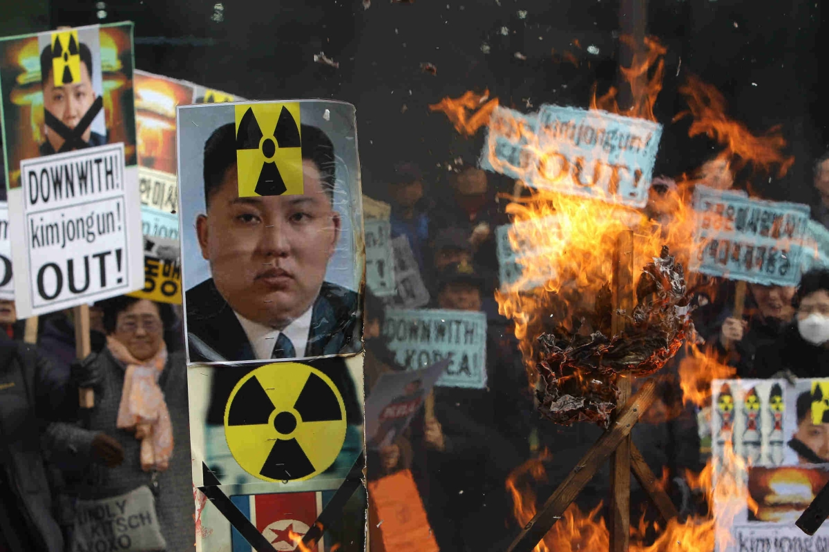 South Korean protesters burn an effigy of North Korea leader Kim Jong-Un during an anti-North Korea rally on February 11, 2016 in Seoul, South Korea. (Chung Sung-Jun/Getty Images)