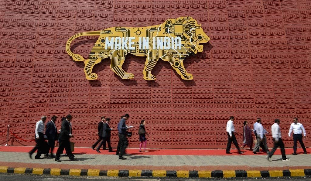 Visitors walk past one of the pavilions of the 'Make in India Week' in Mumbai on February 14, 2016. Over 190 companies, and 5,000 delegates from 60 countries, are taking part in the first 'Make in India' week held in Mumbai from February 13-18. INDRANIL MUKHERJEE/AFP/Getty Images
