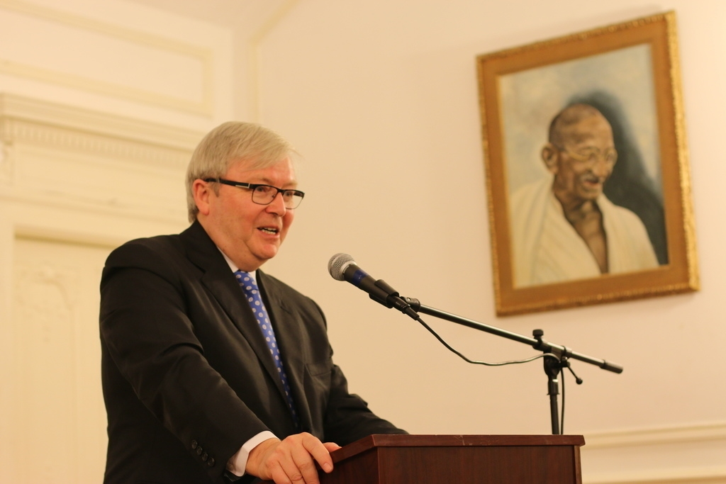 Kevin Rudd speaking at the Embassy of India in Washington, D.C. (Daryl Morini / Asia Society)
