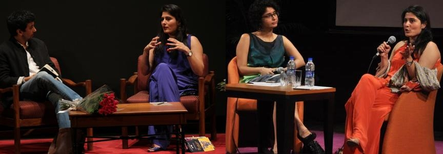 "Left image: Ashvin Kumar (L) and Sharmeen Obaid-Chinoy (R) in New Delhi on July 23, 2012. Right image: Karin Rao (R) and Sharmeen Obaid-Chinoy (L) discuss ""Saving Face"" in Mumbai on July 24."