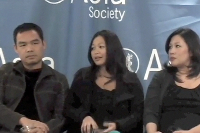 L to R: Andrew Lam, Chloe Dao, and Dai Huynh in Houston on Nov. 21, 2008.
