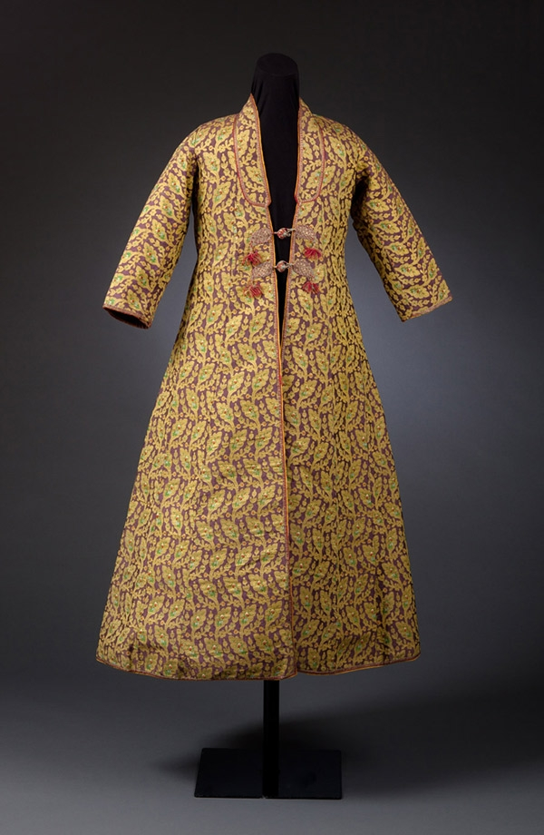 Man's Sawari Coat with Boteh and Woven Floral Motifs, Kashmir, India, late 18th and early 19th century, Mughal Period (1526-1857), Tapestry-woven silk, metal-wrapped threads, Gift of Mrs. August Gilbert Buse, 1965, Collection of the Newark Museum 65.67