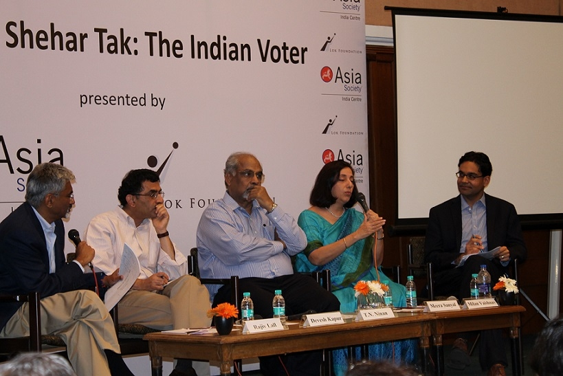 L-R: Rajiv Lall, Executive Chairman, IDFC and Founding Chairman, Lok Foundation, Devesh Kapur, Director, Center for Advanced Study of India, University of Pennsylvania,T.N. Ninan, Chairman, Business Standard Ltd., Meera Sanyal, South Mumbai Candidate for the Aam Aadmi Party and Milan Vaishnav, Associate, South Asia Program, Carnegie Endowment for International Peace