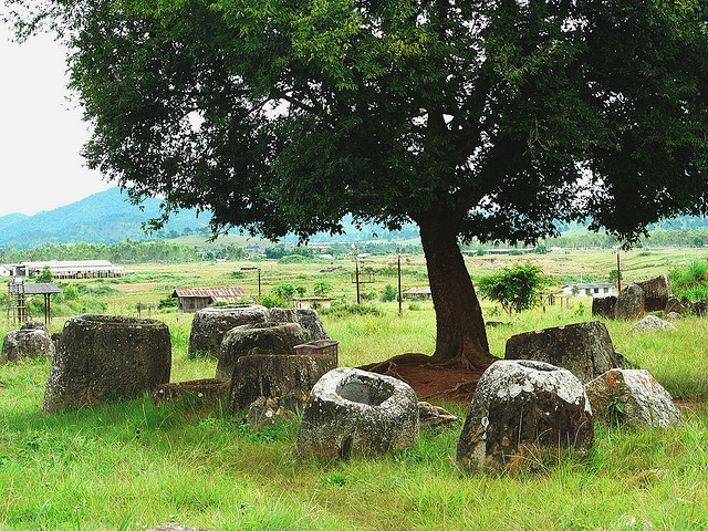7. Plain of Jars, Laos — Megalithic archaeological landscape associated with ancient inhabitants who occupied the area during the Iron Age (500 BCE - 500 CE). Under threat due to insufficient management, war and conflict. (Anne Murray/Flickr)