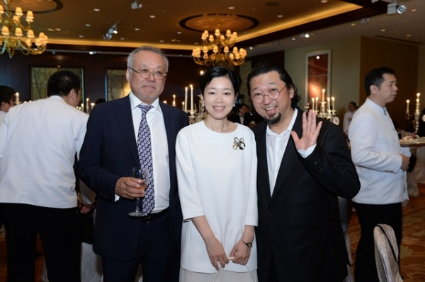 (L to R) A Guest, Mariko Mori, Takashi Murakami at Asia Society's second annual Art Gala on May 12, 2014. (Asia Society Hong Kong Center)