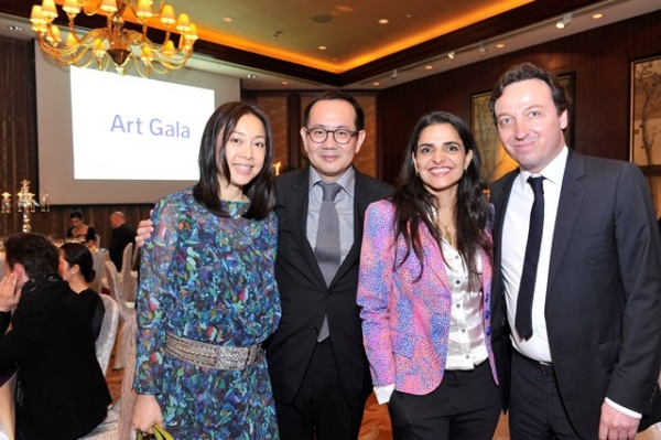 (L to R) Mary Tong Ho, Matthew Ho, Bharti Kher, Emmanuel Perrotin at Asia Society's second annual Art Gala on May 12, 2014. (Asia Society Hong Kong Center)