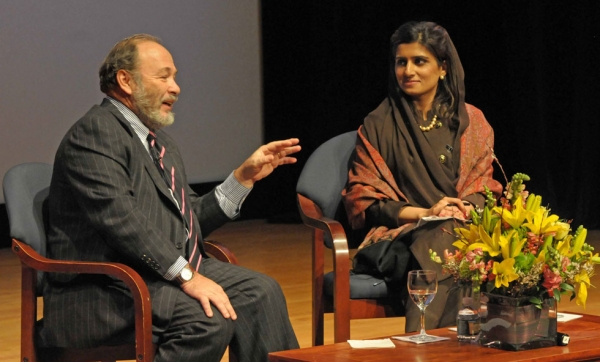 Pakistan Foreign Minister Hina Rabbani Khar (R) listens to TIME columnist Joe Klein during an event at Asia Society in New York on Tuesday, January 15, 2013. (Elsa Ruiz/Asia Society)