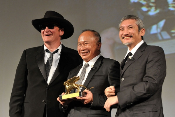 Directors Quentin Tarantino, John Woo, and Tsui Hark pose after the award presentation to Woo at the ceremony for The Golden Lion For Lifetime Achievement award during the 67th Venice Film Festival at the Sala Grande Palazzo Del Cinema on Sept. 3, 2010 in Venice, Italy. (Pascal Le Segretain/Getty Images)