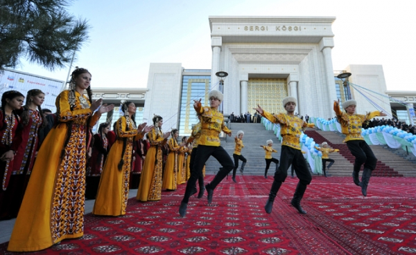 Dancers kick off the annual oil and gas conference in the Turkmen capital of Ashgabat