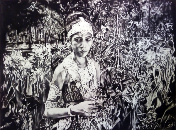 Chitra Ganesh, Gopa in the Garden, Prem Sanyas (2012), charcoal on paper, 141 x 191.8 cm.
