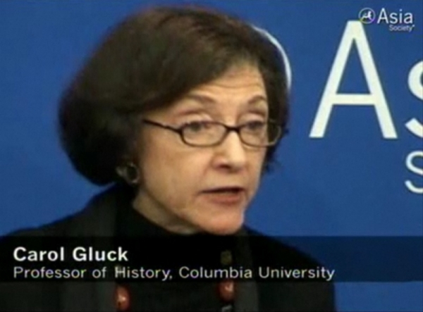 Columbia University professor Carol Gluck speaks at a town hall on the Japan crisis at Asia Society in New York on April 4, 2011.