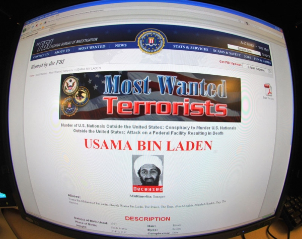 This May 2, 2011 photo shows the FBI website announcing the death of Osama Bin Laden. Bin Laden was killed in an overnight raid by US forces on a heavily fortified compound north of Islamabad, US President Barack Obama announced in a late-night White House address. (Karen Bleier/AFP/Getty Images)