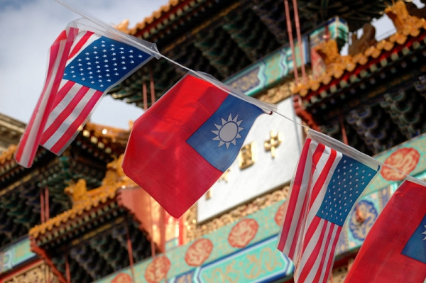 Flags of the United States and Taiwan fly outside Chinatown gate in Washington, D.C. (Flickr/Photo Phiend)
