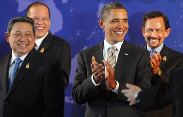 U.S. President Barack Obama (2nd R) applauds with Southeast Asian leaders, Indonesian President Susilo Bambang Yudhoyono (L), Philippines President Benigno Aquino (2nd L) and Brunei Sultan Hassanal Bolkiah (R), during a group photo session for the leaders of the East Asia Summit in Nusa Dua on Indonesia's resort island of Bali on November 19, 2011 following the Association of Southeast Asian Nations (ASEAN) Summit. (Romeo Gacad/AFP/Getty Images)